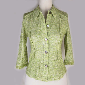 Cynthia Max green boucle fitted blazer jacket NWOT